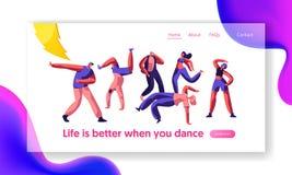 Página de Guy Freestyle Dancing Part Landing del disco Movimiento activo de la gente, del muchacho y de la muchacha de la juventu ilustración del vector