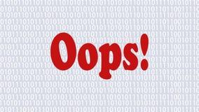 A página de Internet animado 404 do erro, pagina não encontrado Página no fundo com elementos binários ilustração do vetor