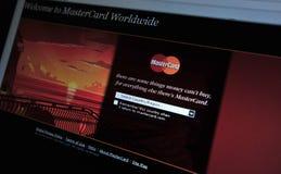 página de Internet principal de MasterCard.com Fotografia de Stock Royalty Free