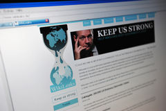 Página de Internet principal de Wikileaks.de Fotografia de Stock Royalty Free