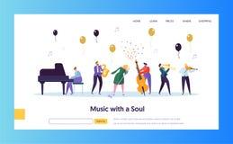 Página de Jazz Concert Show Concept Landing do divertimento Músico Character com a trombeta do violino do piano do saxofone do in ilustração stock