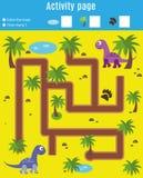 Página de la actividad para los niños Juego educativo Laberinto y juego de la cuenta Reunión de los dinosaurios de la ayuda Diver Foto de archivo
