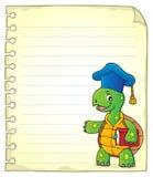 Página de la libreta con el profesor de la tortuga Foto de archivo