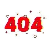 Página de la página 404 del diseño no encontrada Rojo del error 404 en estilo de la interferencia y del ruido página del error de Foto de archivo