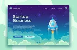Página de lanzamiento del aterrizaje del lanzamiento Lanzamiento de Rocket, comienzo fácil del negocio y ejemplo futurista del co ilustración del vector