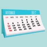 Página 2017 de novembro do calendário de um calendário do desktop Foto de Stock Royalty Free