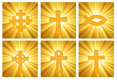 Página de símbolos religiosos sobre resplandor solar Imagen de archivo libre de regalías