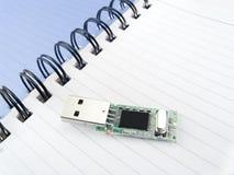 Página de um caderno com compactflash Fotografia de Stock Royalty Free