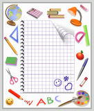 Página de um caderno e de um trabalho feito com ferramentas Fotos de Stock