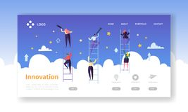 Página del aterrizaje de la innovación del negocio Concepto de Vision del negocio con los caracteres planos en busca de la idea c ilustración del vector