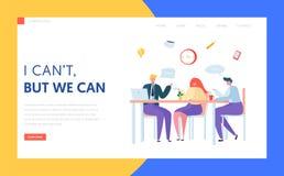 Página del aterrizaje del descanso para tomar café de la oficina Equipo del carácter del negocio en la reunión de almuerzo Charla libre illustration