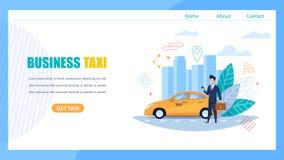 Página del aterrizaje del taxi del negocio Coche que espera del hombre para stock de ilustración
