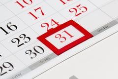 Página del calendario con l31 seleccionado de diciembre de 2016 Imagen de archivo libre de regalías