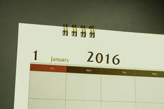 Página del calendario del mes 2016 Foto de archivo libre de regalías