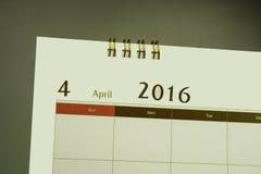 Página del calendario del mes 2016 Fotografía de archivo libre de regalías