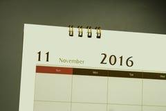 Página del calendario del mes 2016 Fotos de archivo