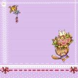 Página del color para los saludos con el pequeño gatito Foto de archivo libre de regalías
