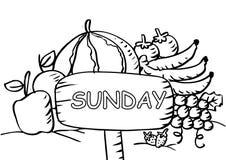 Página del colorante de domingo con las frutas stock de ilustración