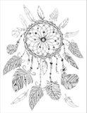 Página del colorante de Dreamcather para el libro de colorear adulto Elementos decorativos étnicos Fotos de archivo