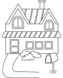 Página del colorante de la casa Foto de archivo