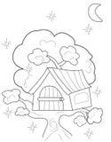 Página del colorante de la casa en el árbol Imagen de archivo