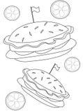 Página del colorante de la hamburguesa Imágenes de archivo libres de regalías