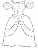 Página del colorante de la ropa de las princesas Imagen de archivo