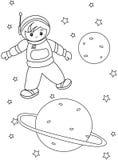 Página del colorante del astronauta del muchacho Imagen de archivo