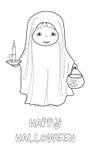 Página del colorante del vector de Halloween con el fantasma lindo Fotografía de archivo libre de regalías
