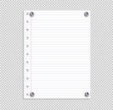 Página del cuaderno de la escuela del vector, hoja de papel alineada atada por Pin Buttons metálico realista, elemento del diseño libre illustration