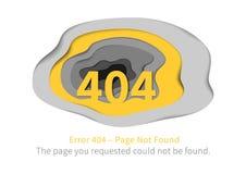 Página del error 404 con el ejemplo de papel del vector del arte Fotografía de archivo