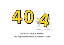 Página del error 404 con el ejemplo del vector de los trabajadores Imagen de archivo