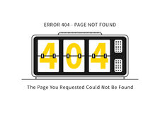 Página del error 404 con el ejemplo del vector del despertador Fotos de archivo libres de regalías
