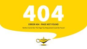 Página del error 404 con el ejemplo mágico del vector de la lámpara Fotografía de archivo libre de regalías