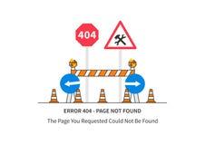 Página del error 404 con las muestras de la construcción de carreteras Imagen de archivo libre de regalías