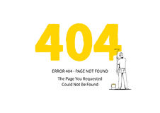 Página del error 404 con un ejemplo del vector del pintor en el fondo blanco Imágenes de archivo libres de regalías