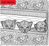 Página del gato del colorante para los adultos Gatito nuevamente llevado tres que mira a escondidas de la caja Ejemplo dibujado m ilustración del vector
