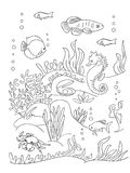 Página del libro de colorear de la parte inferior de mar stock de ilustración