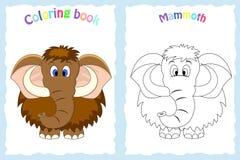 Página del libro de colorear para los niños preescolares con el mamut colorido y bosquejo al color Imagen de archivo libre de regalías
