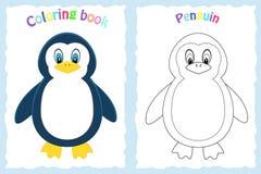 Página del libro de colorear para los niños preescolares con el pingüino colorido Imagen de archivo libre de regalías