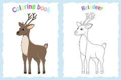 Página del libro de colorear para los niños preescolares con el reno colorido y bosquejo al color Fotos de archivo libres de regalías