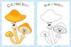 Página del libro de colorear para los niños preescolares con la seta colorida del hongo de miel Foto de archivo libre de regalías