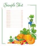 Página del menú de verduras y de frutas Imagen de archivo libre de regalías