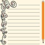Página del vector para las notas y los cuadernos stock de ilustración
