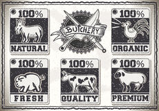Página del vintage para el carnicero Shop Labels stock de ilustración