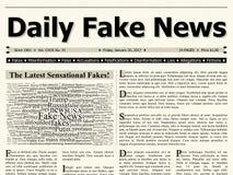 Página delantera del título falso diario del título del periódico de la corriente principal de las noticias Imagen de archivo libre de regalías