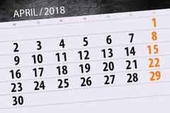 A página diária do calendário do negócio 2018 abril Foto de Stock Royalty Free