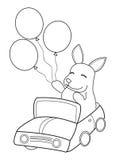 Página dibujada mano del colorante de un montar a caballo del conejito en un coche con los globos Imagen de archivo libre de regalías