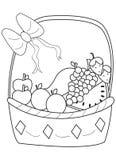 Página dibujada mano del colorante de una cesta de fruta Foto de archivo libre de regalías