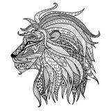 Página dibujada mano del colorante del león Fotografía de archivo